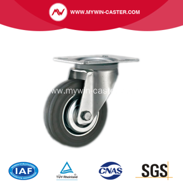 4 Inch Plate Swivel Gray Rubber Industrial Caster