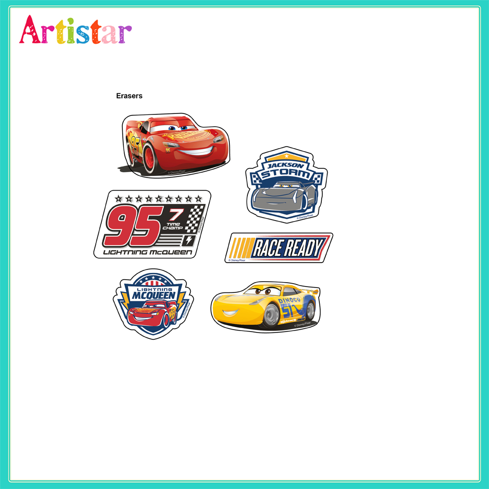 Disney Pixar Cars Blister Card 6 Pack Erasers 2