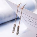 Rose gold simple sparkly rhinestone drop earrings