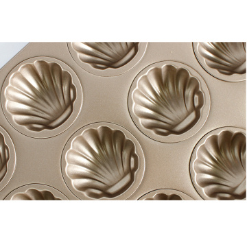 12x Non-stick Madeleine Cake Mold (Golden)