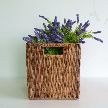 Brown rattan handicraft woven storage basket