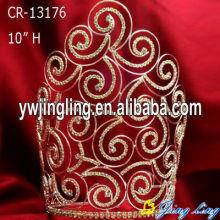 "10"" Gold plated wire curved pageant crowns wholesale"