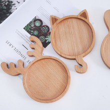 Wooden Baby Food Plate Japanese Food Tray Baby Feeding Bowl Creativity Hand Polished Dessert Dishes Household Kitchen Tools