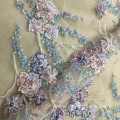 Indwangu ye-Handmade Beaded Crystal Lace engu-Purple