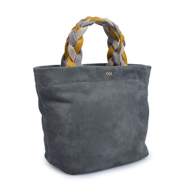 fashion women suede joint tote bag leather handbag