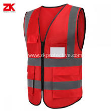 bsci Red reflective safety vest with pockets