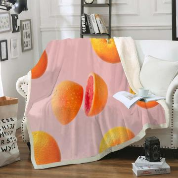 Fruit Throw Blanket Orange Blueberry Lemon Coconut Dragon Fruit Sherpa Fleece Blanket Fresh and Cool Soft Bedspreads on Bed