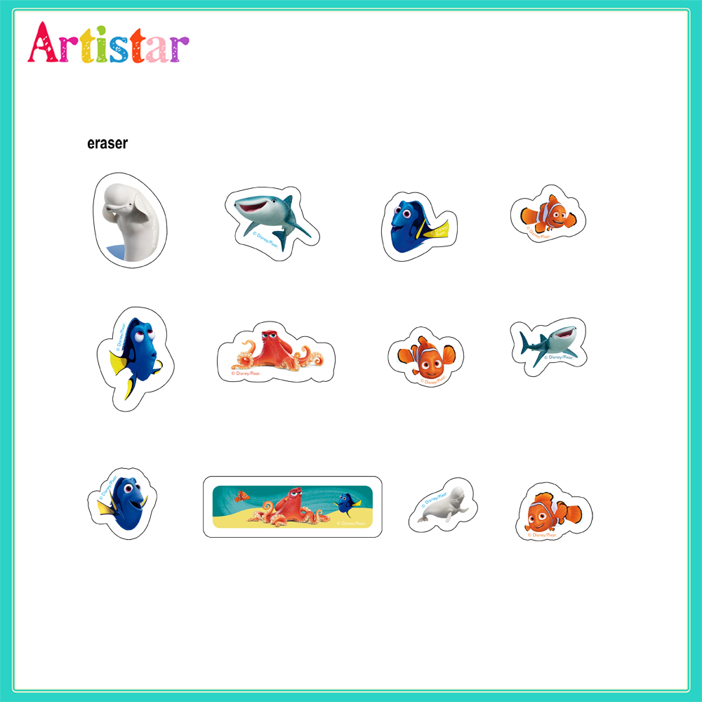 Disney Pixar Finding Dory Blister Card 12 Pack Erasers 2