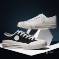 Men Casual White low top canvas shoes