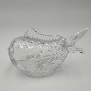 fish shaped large size clear candy jar for food