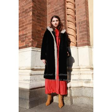 Lady Hooded Mink Fur Coat