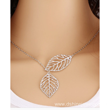 Gold Single Chain Leaf Pendant Choker Link Chain Necklace