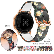 20mm watch strap for Samsung Galaxy Watch 3 41mm active 2/42mm Gear S2/Sport band Printed silicone bracelet Amazfit bip gts