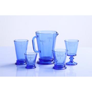 Dragonfly Pattern Drinking Glass Tumbler and Goblet Pitcher Set of 6