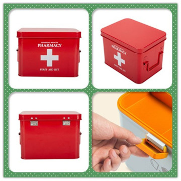 Red Tin Medicine Container