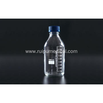 Reagent Bottle with Plastic Blue Screw Cap Clear