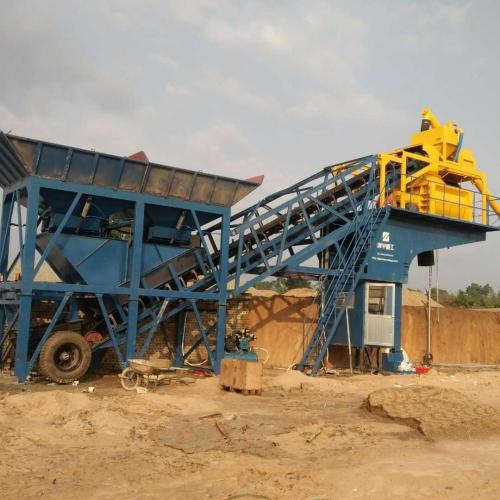 YHZS35 mobile concrete batching plant in Pakistan