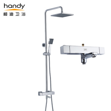 Square Thermostatic Shower Set with Cylindrical Shower Rod