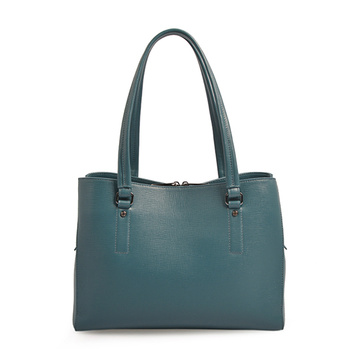 Women Zipped Leather Soft work Shoulder Bag Blue