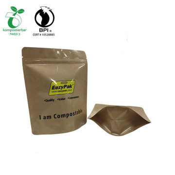 Food Grade Cornstarch high barrier Kraft paper Stand up bolsa zip doypack