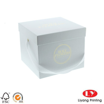 Gift Paper Box Packaging with Ribbon Handle