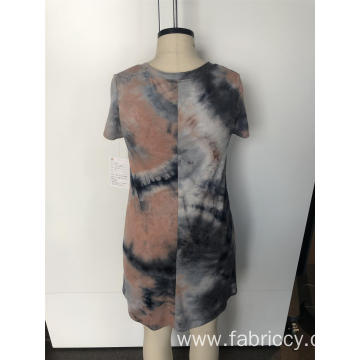 Ink tie - dyed long dresses