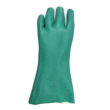 Green PVC coated gloves Foam finish cotton linning