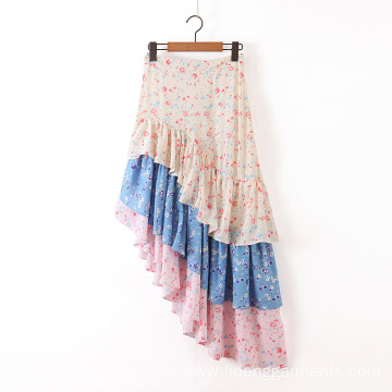 Color Matching Fishtail Design Floral Print Chiffon