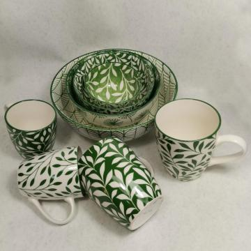 Pad printing stoneware bowl and mug