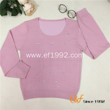 Cable-knit Low Round Collar Graceful Sweater with Crystal