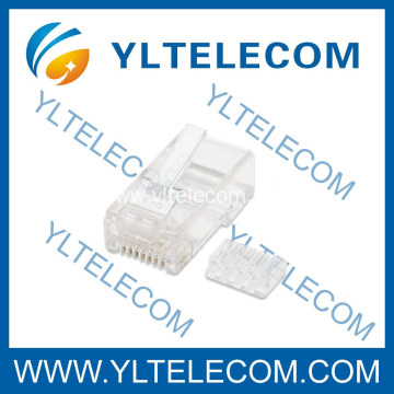 Cat6 Modular 2 Prong Plug RJ45 8P8C with Insert 100