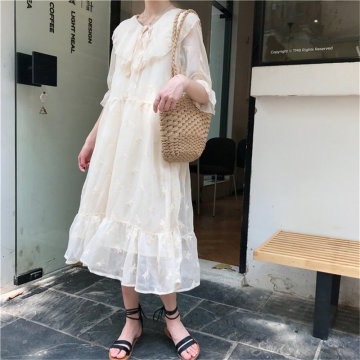 HziriP Hot Sale Apricot Chiffon Peter Pan Collar Embroidery 2020 Chic Sweet Fresh Girls Fairy Butterfly High Quality Dresses