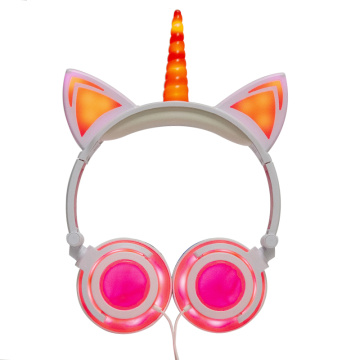 LIMSON Unicorn Cat Headphones for Kids Tablet,Wired Over Ear Earphones School Supply with Flashing LED Light