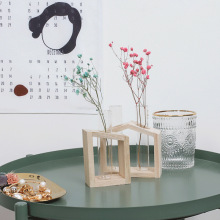 Test Tube Vase Crystal Glass Test Tube Vase in Wooden Stand Flower Pots for Hydroponic Plants Home Garden Decoration