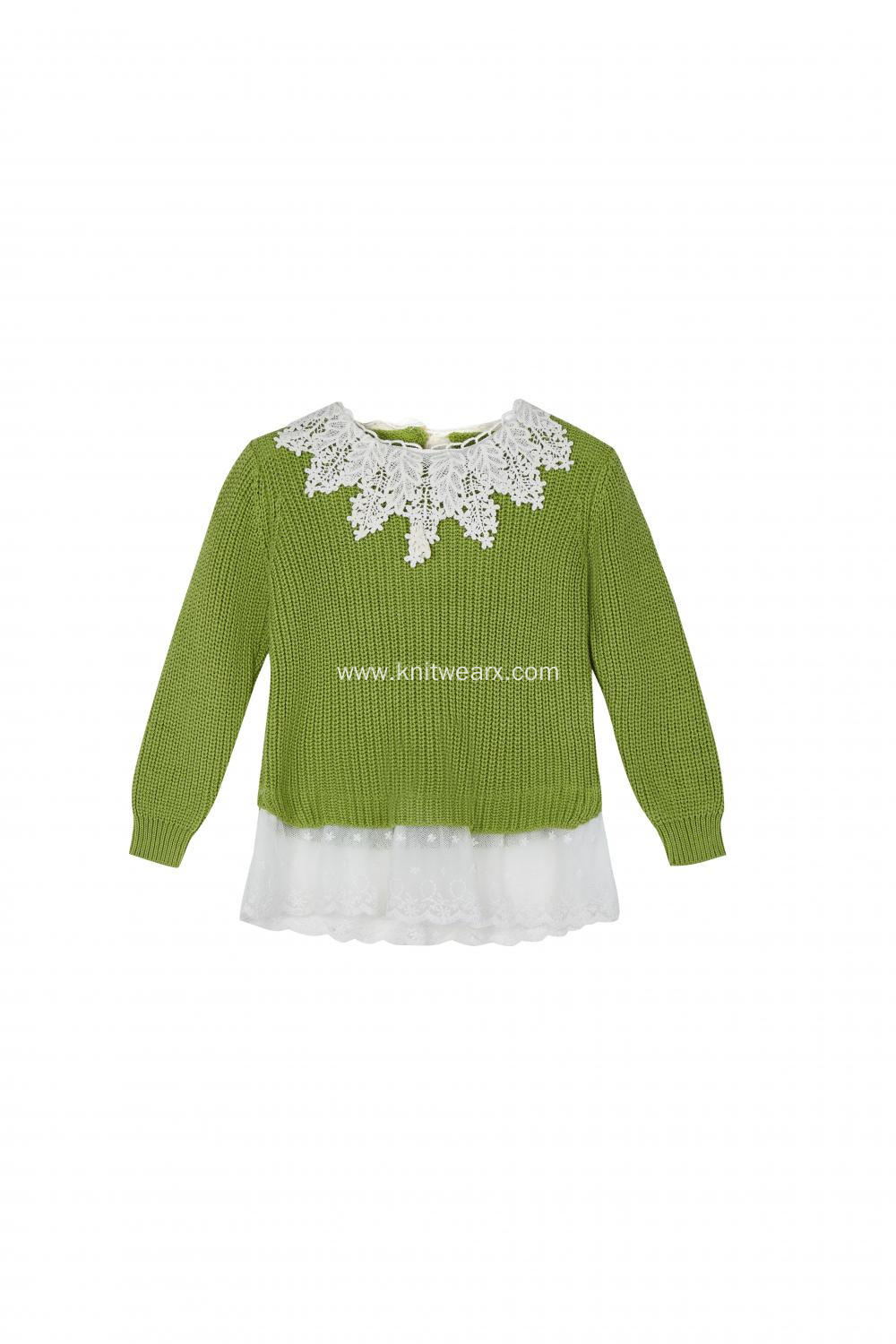 Girl's Knitted Lace Neck and Hem Stylish Dress