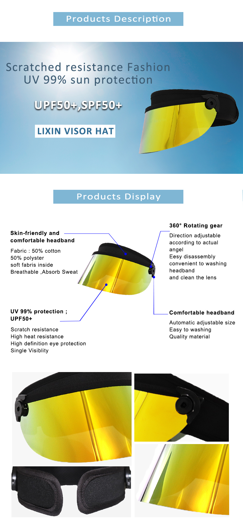 Sport Visor Face Shield Uv Protection Sun Visor Hat Factory