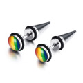 Punk rainbow lesbian gay pride stud earrings