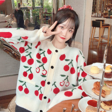 Japanese Winter Thicken Knit Cardigan Women Preppy Loose Long Sleeve Small Fresh Cherry Pattern Outer Sweater Girl Overcoat