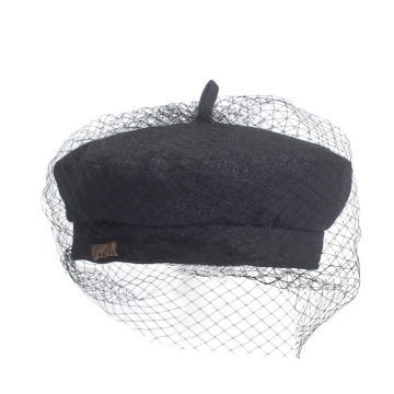 Lace denim cloth hat dinner lady beret hat