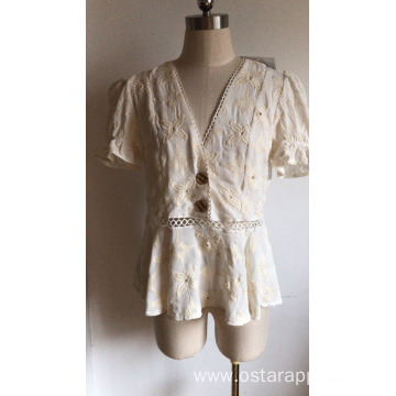 Ladies Blouses Short Sleeves with Embroidery and Zip
