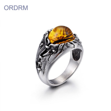 Stainless Steel Mens Dragon Eye Ring Jewelry
