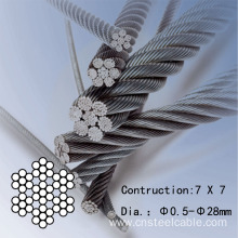 "7X7 Dia.3/64""-3/8"" Aircraft steel cable"