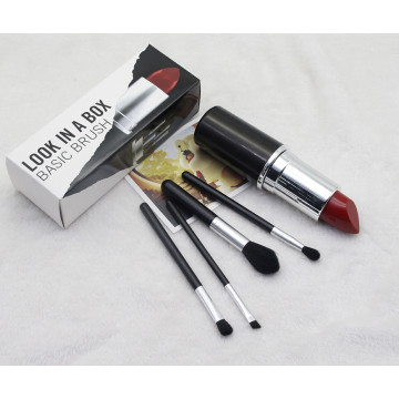 4Pcs Mini  Lip tube eye makeup brush set synthetic