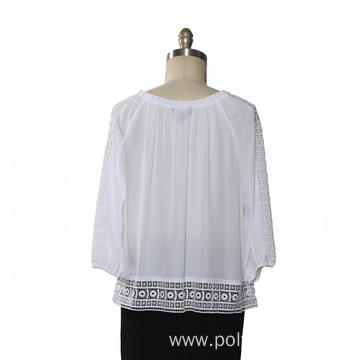 Ladies Blouse 3/4 sleeve Lace Trims