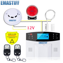 GSM Wired Alarm System Built-in antenna Alarm Systems Security Home Alarm Russian English Spanish Voice with Smoke detector