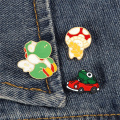 Cartoon Frog Driver Enamel Pins Dinosaur Mushroom Red Car Brooches Funny Cute Animal Jewelry Clothes Bag Badge Gift for Children