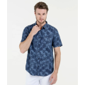Short sleeve print 100% cotton shirts for men
