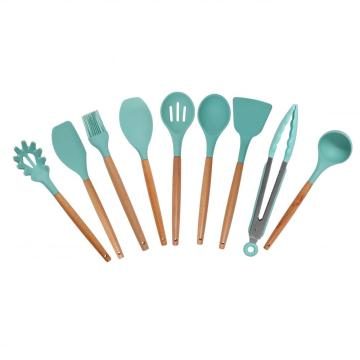 Silicone Cooking Utensils Set 10pcs Wooden Handle