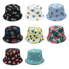 Unisex Summer Two Sides Wear Reversible Bucket Hat Bohemian Pineapple Watermelon Fruits Printing Foldable Fisherman Cap