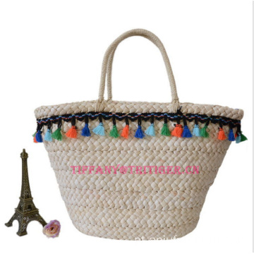 Wholesale Green Straw Bags woven Handmade Corn Husk Bags
